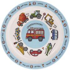 Blue Vehicles Melamine Plastic Childrens Cars Dinner Plate 21cm Kids Food Dish