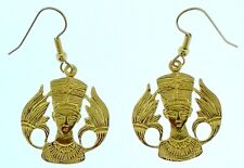 Egyptian Earrings - Queen Nefertiti w. Lotus Earrings  18K. Yellow Gold Tone