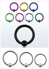 316L Surgical STEEL 16g Captive Closure Ring With 3mm Ball Nose Ear Lip Nipple
