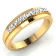 Real 0.22 CT Diamond Engagement Men Rings Solid 14K Yellow Gold Band Size U W
