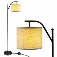 Standing Arc Light Modern Floor Lamp W/Fabric Hanging Lamp Shade Bedroom Office