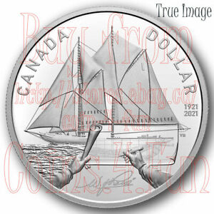 1921-2021 100th Anniversary of Bluenose $1 Proof Pure Silver Dollar Coin Canada