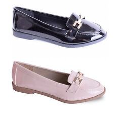 Womens Ladies Flat Loafer Smart Casual Summer Girls Work Office School Shoe Size