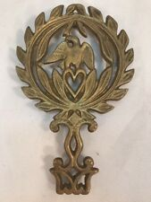 Vtg Brass Patriotic USA American Eagle Trivet Heart Hot Plate WREATH Wall Decor