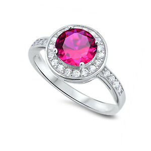 Ruby Brilliant Round Fashion Halo Clear CZ Sterling Silver Ring