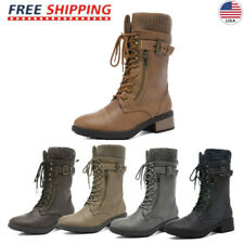 DREAM PAIRS Women's Winter Warm Fur Mid Calf Combat Riding Boots Shoes Size US