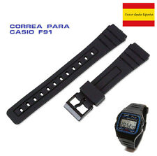 Correa de reloj de goma negra para casio F 91 w negro