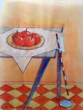 """Dimitris C. Milionis """"RED ROOM IV"""" Colored Drawing Still Life Paper Greek 2002"""