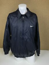 VINTAGE Nike Blu Navy Cerniera Intera Giacca Effetto Cera | Abbigliamento Sportivo | Grande L-A9