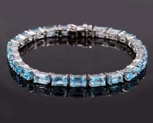 925 Silver Blue Topaz Bracelet Silver Blue Topaz Tennis Bracelet 5x7 mm Octagon