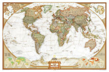 World Political Wall Map, Executive Style Antique Educational Huge Poster 73x48