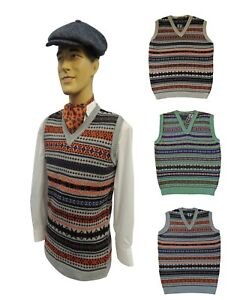 New Mens Vtg style  1930's 40's WW2 Wartime Fair isle knit slip over Tank Top