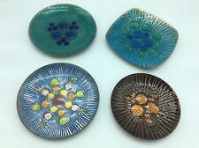 4 Vtg Mid Century Modern Annemarie Davidson Copper Enamel Large Plates.7.5�-8.5�