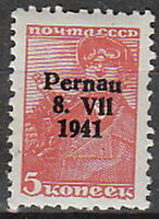 Stamp Germany Parnu Mi 05II WWII 1941 Estonia War Occupation Russia Pernau MNH
