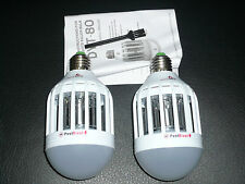 QTY 2 NEW Ultimate Mosquito Killer 2in1 LED Light Bulb PestBlast Above Edge