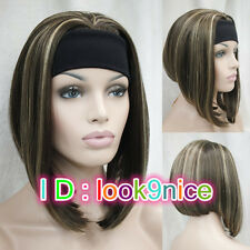 Half wig 3/4 wigs With headband Synthetic Hair Wig Brown Mix Cosplay Party wigs