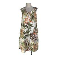 J.Jill Size XS Womens Tropical Dress Sleeveless Sheath Linen Jungle Knee Length