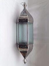 Extra Large Hanging Moroccan Style Lantern 66cm Star Glass Nickel Metal Fretwork