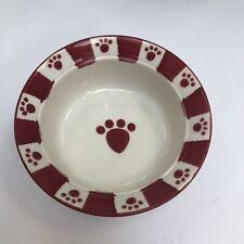 """Pet*Rageous Designs Pet Food/Water Bowl 5"""" Stoneware White & Red"""