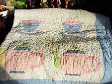 "Used Pottery Barn Kids Bedding Quilt Tea Pots & Tea Cups 86.5"" X 70.5"""