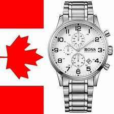 Hugo Boss Aeroliner HB1513182 Homme Cadran Blanc Bracelet Montre Chronographe