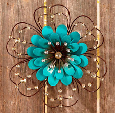 Ornate Painted Floral Wall Hanging Beaded Front Porch Fence Decor Metal Blue