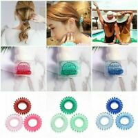 3X Elastic Spiral Coil Hair Ties Ponytail Holders Phone Cord Hair Ring Rope Hot-