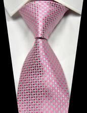 New Classic Geometric Pink Silver 100% Silk Men's Necktie Neck Tie 3.15''(8CM)