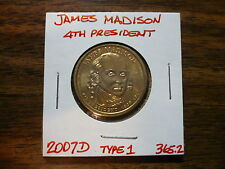 James Madison 2007D Gold Dollar Type 1 Clad Coin 4th President Denver 365