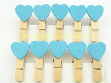 20 x Mini Love Heart Pegs (Blue) | Wood/Wooden Clip Gift Wrapping Wedding Tag