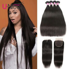 Straight Hair 4 Bundles With 4x4 Lace Closure Malaysian Human Hair Extensions US