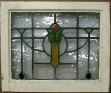 """Old English Leaded Stained Glass Window Pretty Tulip & Swag Design 20.75"""" 17"""""""