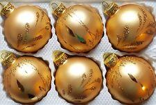 6 X Main Peint Vintage Style Noël Arbre Verre Boules - or Mat Paillette