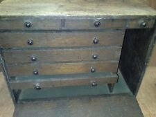 VINTAGE SOLID OAK ENGINEERS TOOL BOX 7 DRAWER WOODEN TOOL CHEST FOR RESTORATION
