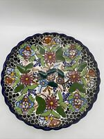 VTG Signed Large Mexican Talavera Plate Dish Multicolor Flowers #11