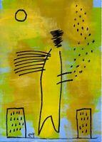 21021025 e9Art ACEO Abstract Figurative Angel Outsider Folk Art Brut Painting