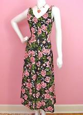 Betsey Johnson Precious Rose long Cotton Lycra Black Pink Dress $348 M
