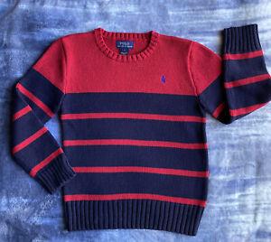 Polo Ralph Lauren Crewneck Knit Sweater Boys Size 7 Red/Blue Stripe Free Ship!