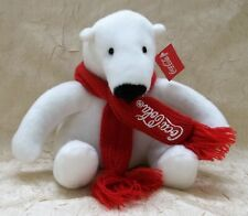 """Coca-Cola 6"""" Polar Bear Plush Toy with Red Knit Scarf New with Tag"""