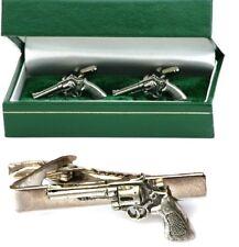 Revolver Pistol Cufflinks & Tie Clip Bar Slide Mens Gift Set Handgun Present
