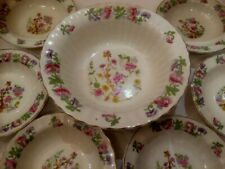 Wade China Serving Bowl & 6 Matching Fruit/Dessert Dishes Pretty Painted Florals