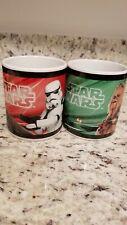 "Set of 2 Galerie Star Wars Coffee Mugs/Cups,  4"" H Yoda StormTrp DarthV Chewbca"