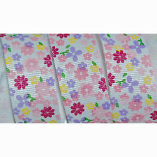 "7/8"" Flower Print GROSGRAIN RIBBON Pastel Flower Buds Summer 5 Yards Hair Bow"