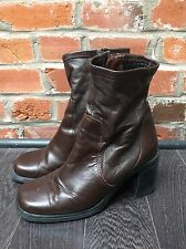 Vintage 90s Sock Stretch Brown Leather Boots Size 8 Womens Ankle