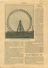Démolition de la Grande roue Paris Face la Tour Eiffel France 1921 ILLUSTRATION