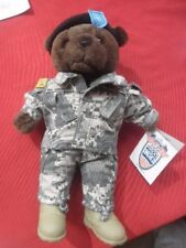 "PLUSH MIILITARY BEAR USA FORCES OF AMERICA 11"" TEDDY CAMO BOOTS LONG TROUSERS"