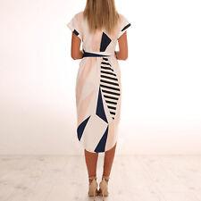 UK Womens Short Sleeve Bodycon Party Ladies Summer Holiday Midi Mini Belt Dress 2xl #5