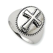 SOLID STERLING SILVER MEN'S ANTIQUED FINISH BOLDNESS CROSS RING - SIZE 11