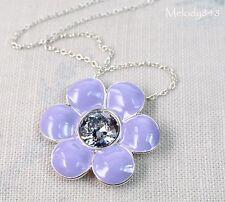 Vintage Andersen PILGRIM Necklace Silver/Blue Lilac Enamel Swarovski Flower BNWT