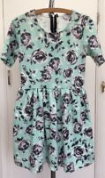 Glamorous Floral Mint Green Grey White Stretch Skater Summer Dress Fits size 10
